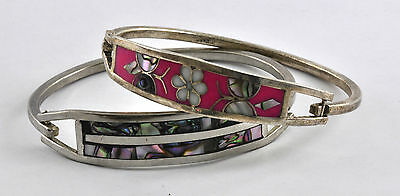 """7"""" Pair Vintage Sterling Silver Taxco Hook Mexican Link Bracelet Abalone Signed"""