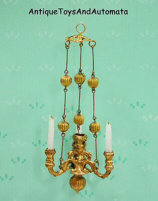Rare Erhard & Sohne Ormolu 3 Light Candle Chandelier German Dollhouse Miniature