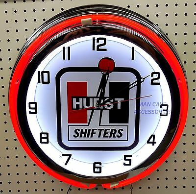 "18"" Hurst Floor Shifter Sign Double Neon Clock"