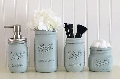 Mason Jar Bathroom Organizer | Mason Jar Bathroom Accessory Set 4 Piece Blue Soap Pump Vanity