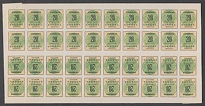 Mexico - 1914 Sonora Coach Seals 20c Full Sheet of 40 with 10 Tete-Beche Pairs