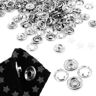 100 Sets Silver Press Studs snap fasteners/popper 9.5mm New