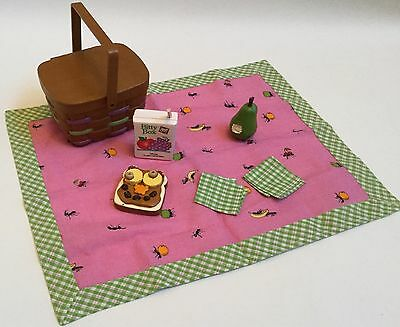 American Girl Bitty Baby Doll Picnic Basket Blanket Pear Sandwich and Juice
