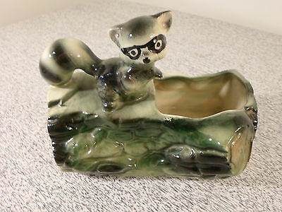 Vintage Ceramic Raccoon on Log Planter Very Cute