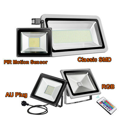10W-500W LED Flood Light SMD /PIR Motion Sensor /AU Plug /RGB Outdoor Lamp 240V
