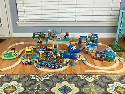 THOMAS & FRIENDS HUGE LOT Learning Curve Trains Wooden Tracks Stations 104 Piece