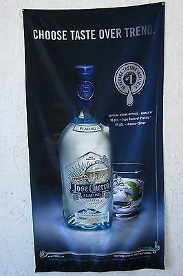 "Jose Cuervo Platino Bottle and Glass Flag Banner Man Cave Bar 30"" x 58"" Inches"