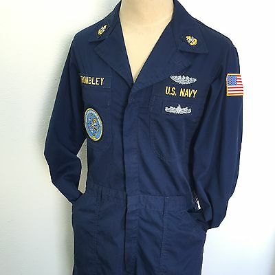Navy Jumpsuit Coveralls With Patches Submarine Deep Submergence Unit Unisex