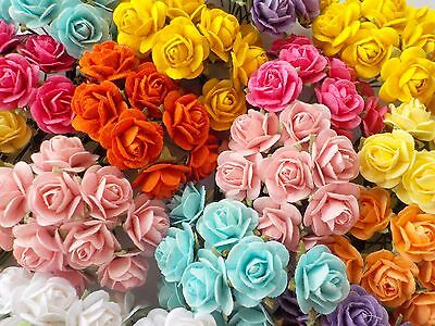 100 Cute Handmade Mulberry Paper Roses - 10mm - Beautiful Colour Mix Rose Topper