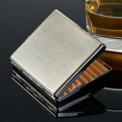 Silver Brushed Stainless Steel Metal Cigarette Case Holder Box For 20 Cigarettes