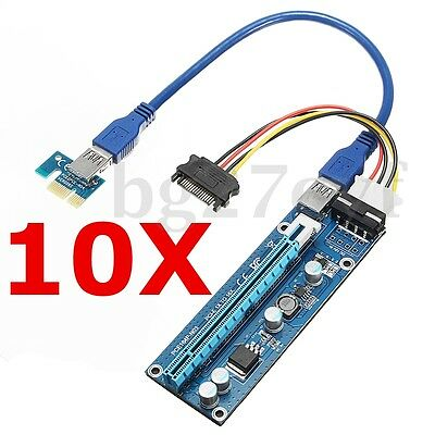 10x USB 3.0 PCI-E Express 1x to 16x Extender Riser Card Adapter SATA Power Cable