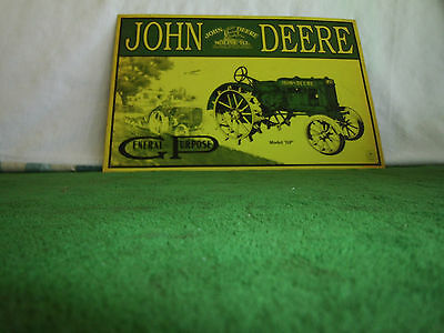 vintage John Deere metal sign distributed by despeate ent. 11 x 16 see pictures