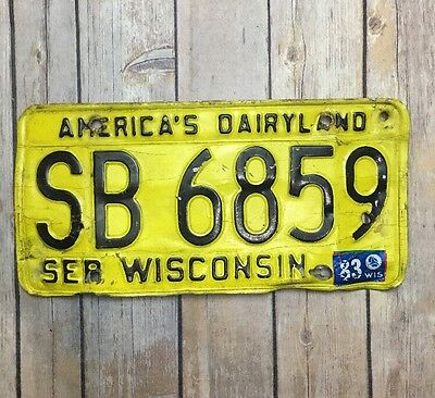 Wisconsin 1983 Vintage License Plate 1980 Base Garage Old Car Auto Tag Man Cave