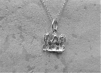 "Sterling Silver (925)  Solid 3D Charm ""3 Wise Monkeys"""