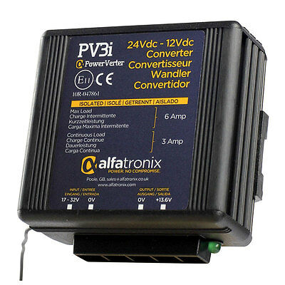 Alfatronix PV3i 24VDC to 12VDC Converter - Isolated Input to Output