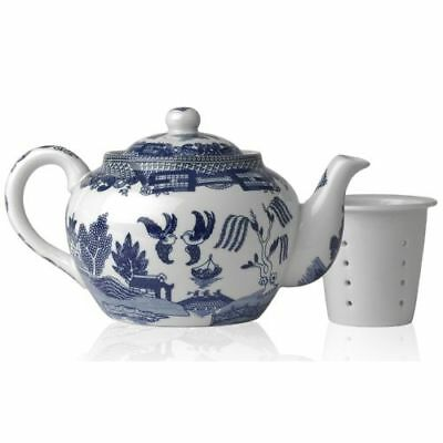 New Harold Import Blue Willow Teapot with Infuser, 16 oz