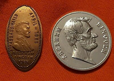 Lot of 2 Diff Abraham Lincoln Medal & 1965 Elongated Cent