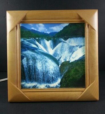 "Vtg Unique 10"" Wood Frame Moving Waterfall Lighted Motion Picture Freestanding"