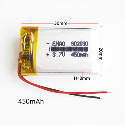 3.7V 400mAh Lipo Polymer Rechargeable Battery cells 802030 For Bluetooth GPS MP3