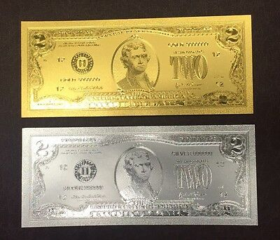 2 Pc Set of $2 24kt .999 Gold & .999 Silver U.S Two Dollar Bill Banknotes +sleev