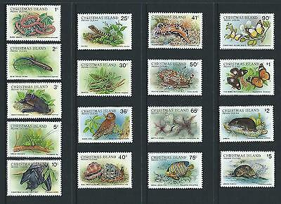 1987-89 CHRISTMAS ISLAND Wildlife Complete Set of 17 MNH (SG 229-244,237a)