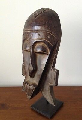 Hand Carved Wood Yaure Tribe Ivory Coast African Mask on Stand Cllectable RARE