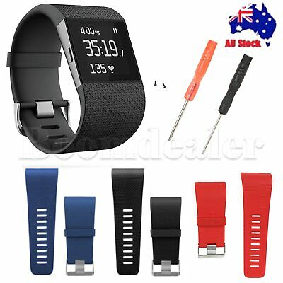 TPU Replacement Band Strap Wristband + Tools Buckle for Fitbit Surge Tracker AU