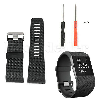 Replacement TPU Band Strap Wristband & Tools Buckle for Fitbit Surge Tracker NEW