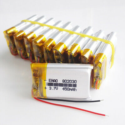 10 pcs 400mAh 3.7V Lipo Polymer Rechargeable Battery For GPS MP3 802030