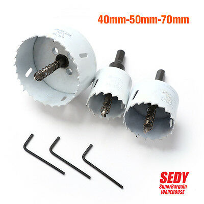 3 Size Hole Saw Set Bi Metal Timber HSS Rotary Holesaw Drill Bits 40mm 50mm 70mm