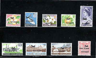 Cook Islands 1966 Airmail overprints issue of 9 SG 185/93 MH