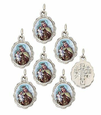 Silver Tone Secret Heart Our Lady of Mount Carmel Small Medal Pendant, Pack of 6