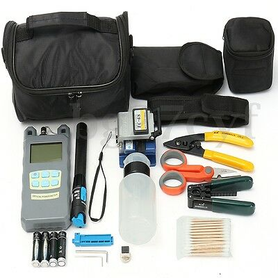 11in1 FC-6S FTTH Splice Fiber Optic Tool Power Meter Cleaver Cable Stripping Kit