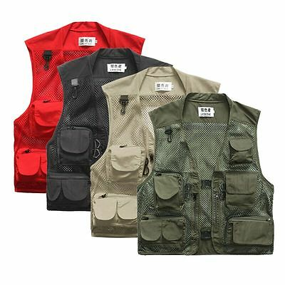 Men Outdoor Multi-Pocket Vest Travelers Fly Fishing Photography Quick-Dr+ Jacket