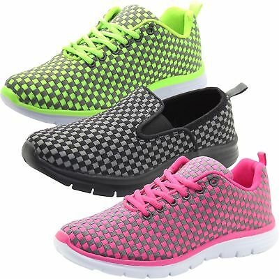New Ladies Womens Breathable Running Casual Sport Black Sneakers Trainers Shoes