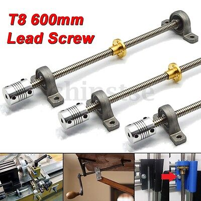 T8 600mm 3D Printer Stainless Steel Lead Screw Coupling Shaft Mounting Bearing