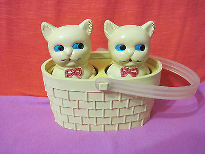 Russian Vintage Doll Kittens In The Basket,Plastic,Meowing,Straume,USSR,70's