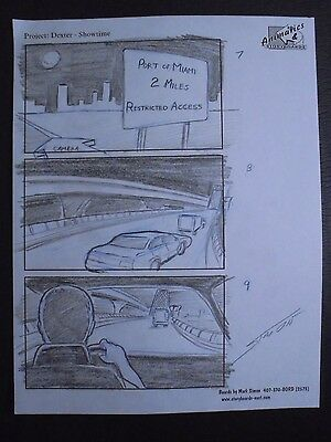 Dexter (2006 Pilot) Hand Penciled Production Storyboard Page Jeff Lindsay #MS4