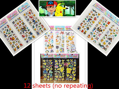 12 Sheets Puffy Japan Anime Pokemon Stickers Pikachu Pocket Monster Scrapbooking