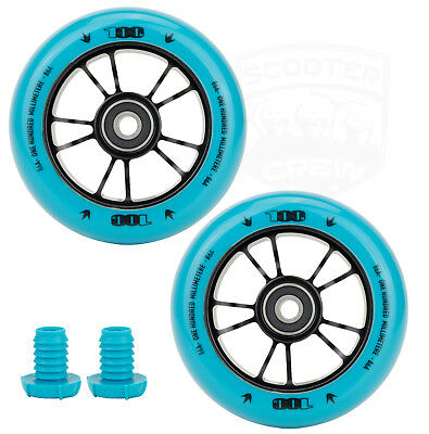Envy One 100mm Teal Metal Core Scooter Wheels with Bearings and Bar Ends