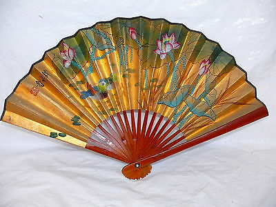 Vintage Gold Paper Chinese Hand Fan Lotus Flowers & Birds Signed Bamboo Handle