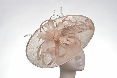 Beige Nude LAtte Hat Fascinator Disc Ascot Wedding Mother of the Bride Occasion