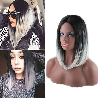 Women Heat Resistant Short Straight Full Wig Black Ombre Cosplay Grey Hair Wigs