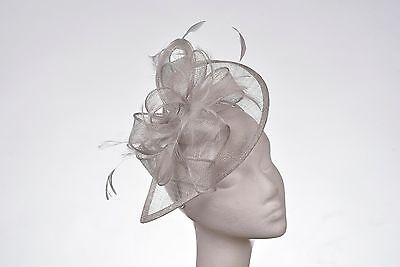 Silver Hat Fascinator Disc Ascot Wedding Mother of the Bride Occasion