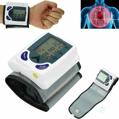 Digital LCD Wrist Blood Pressure Monitor Heart Beat Rate Meter Measure Machine#B