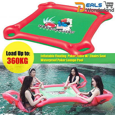 Inflatable Floating  Poker Table W/ Chairs Seat Waterproof Poker Lounge Pool