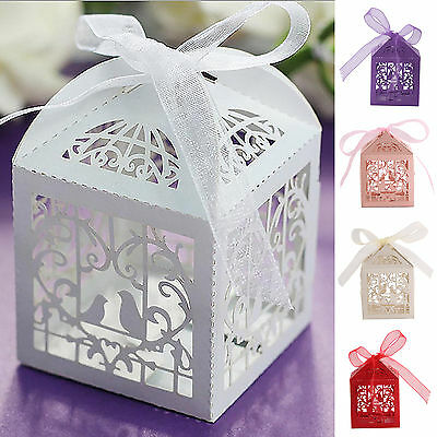 25PCS Love Heart Laser Cut Candy Gift Boxes With Ribbon Wedding Party Favor