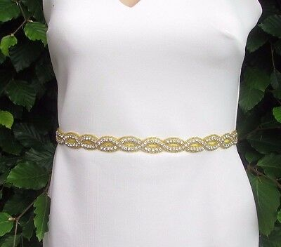 Gold Silver Diamante Bead Bridal Belt Sash Wedding Rhinestone Dress Grecian 3106