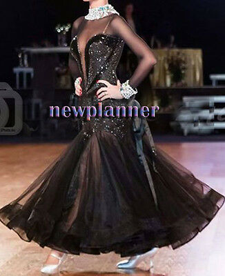 Competition Ballroom Standard Waltz Tango Dance Dress US 10 UK 12 Two Black