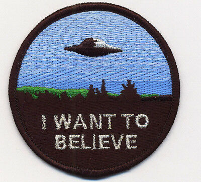 X-FILES I WANT TO BELIEVE - EMBROIDERED PATCH satin + metal threads - UK SELLER!